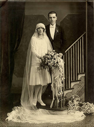 somber bride and groom
